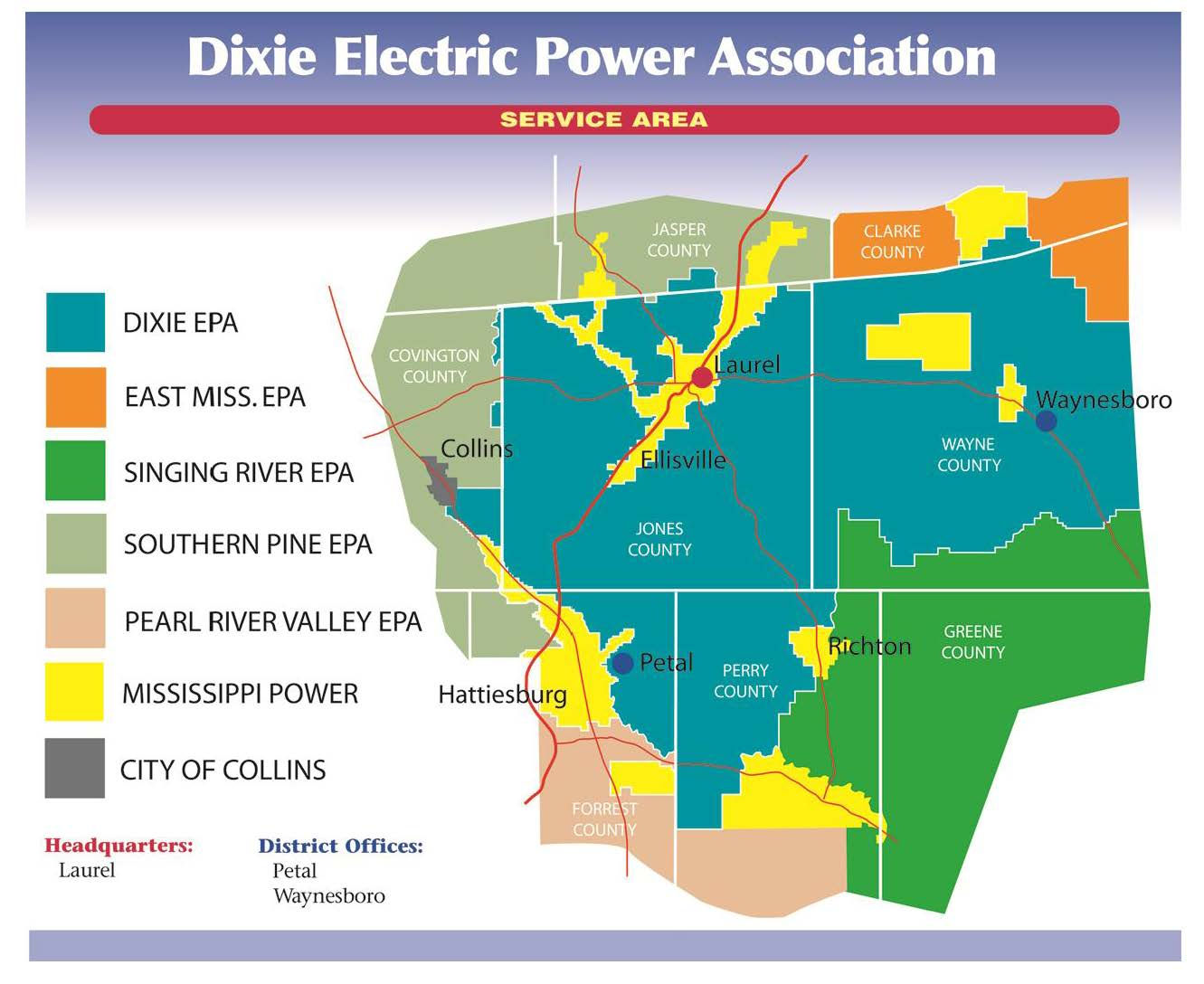 Map of Dixie Electric's service area